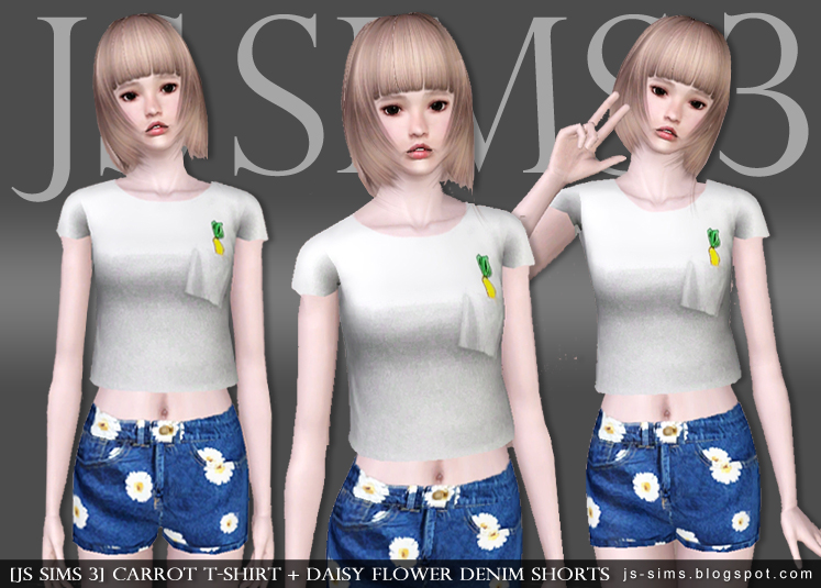 Carrot T-Shirt + Daisy Flower Denim Shorts by JS SIMS 3