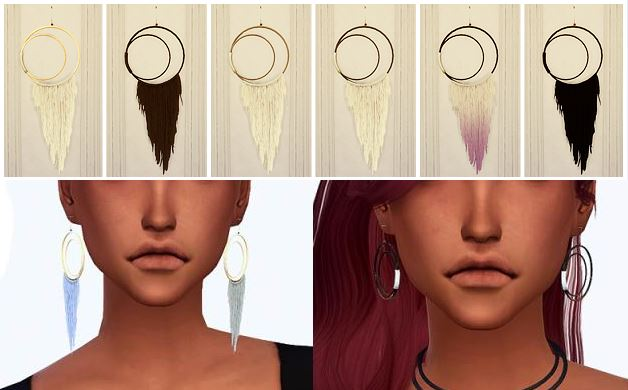 Wool Crescent Hoops by by Chisami