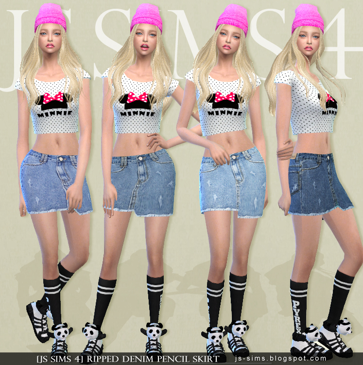 Ripped Denim Pencil Skirt by JS SIMS 4