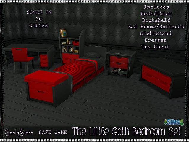 Little Goth Bedroom Set by SrslySims