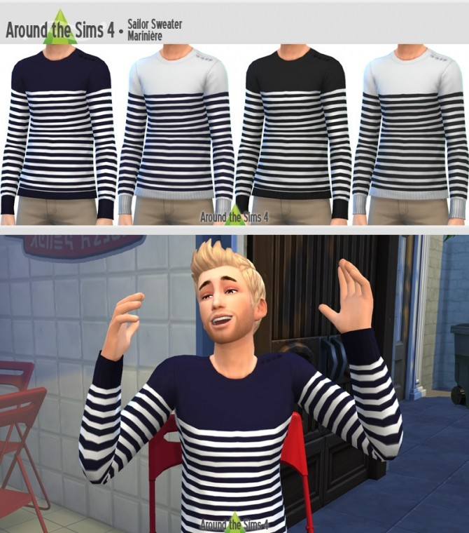 Around the Sims 4  Clothing, Male : Sailor Sweater by Sandy