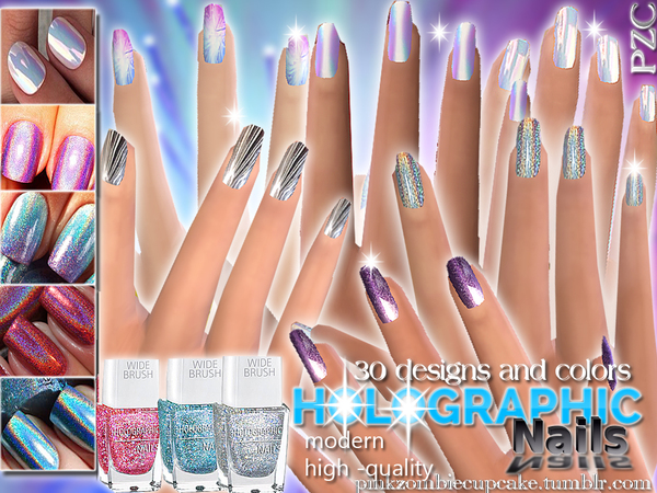 Holographic Nails Collection-30 different nails by Pinkzombiecupcakes