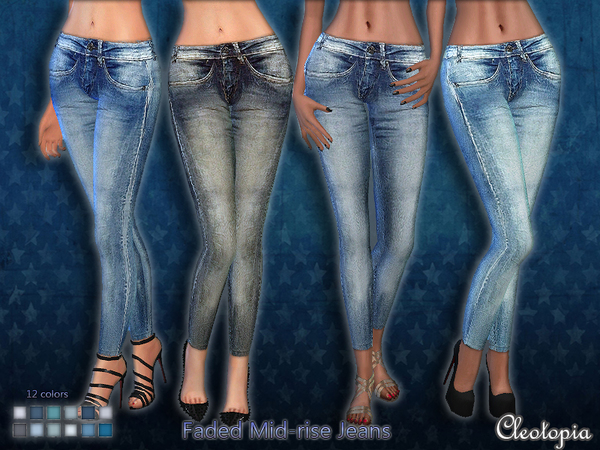 Set40- Mid-Rise Faded Jeans by Cleotopia