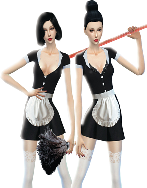 Naughty Maid Costume - 2 costumes (with Bra and without Bra) by pamieelady