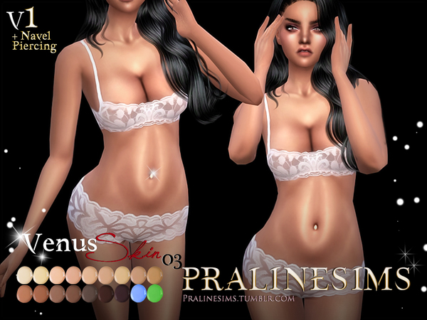 Venus Skin + Navelpiercing (4 Versions) by Pralinesims