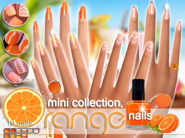 Orange Nails Mini Collection by Pinkzombiecupcakes