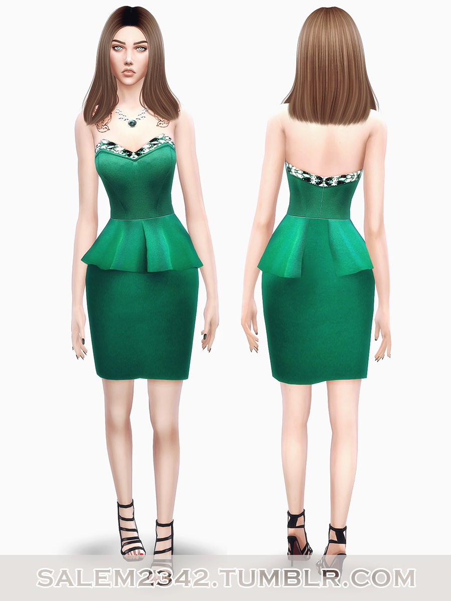 Bandeau Embellished Peplum Dress by salem2342