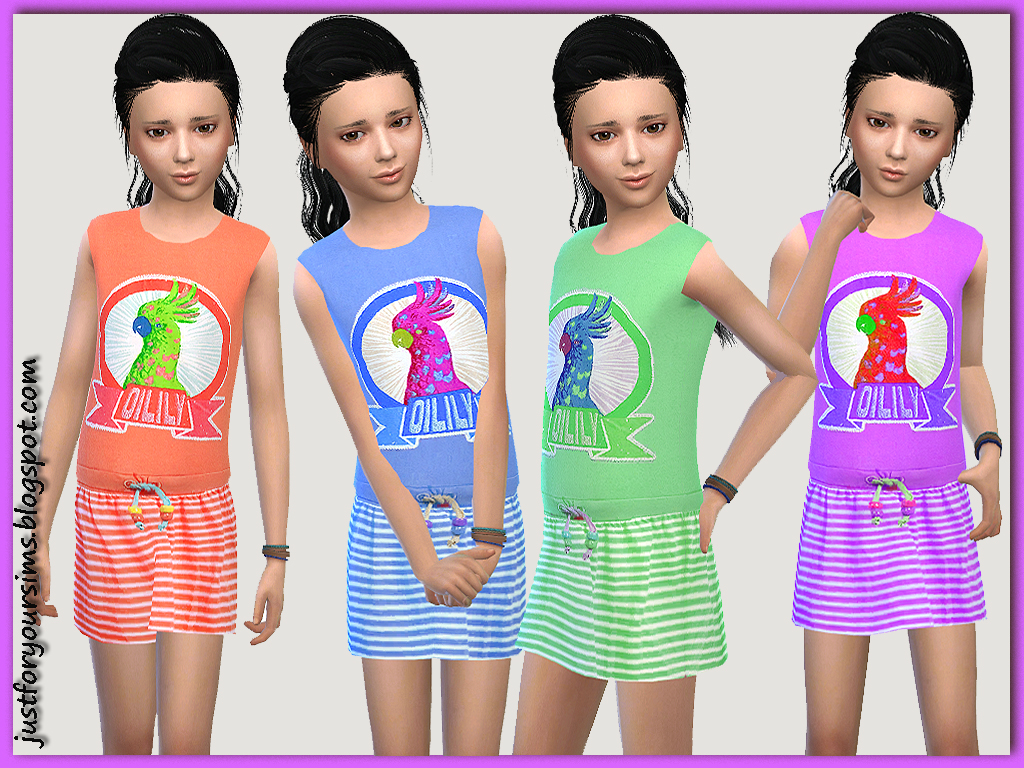 Parrot Dress for Girls by Just For Your Sims