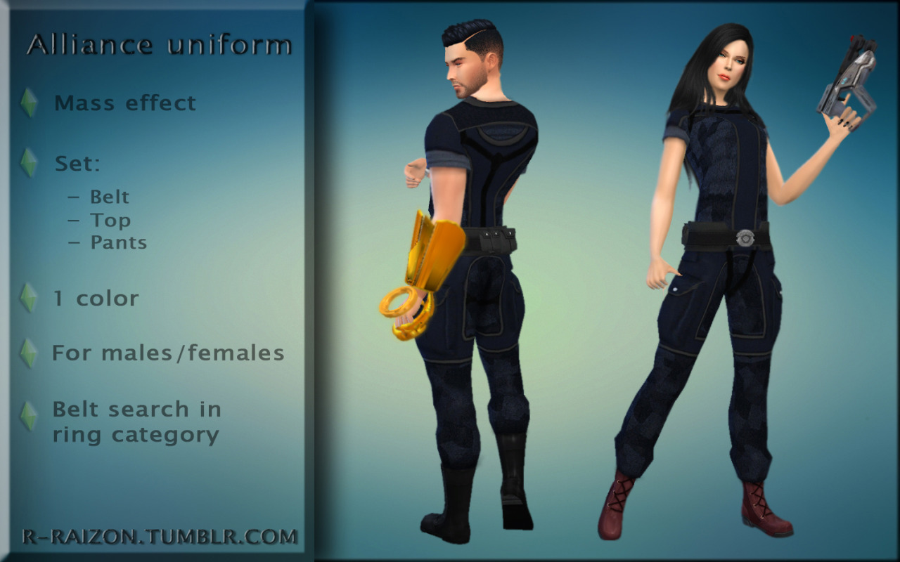 Alliance uniform from Mass Effect 1 for males and females by Raizon