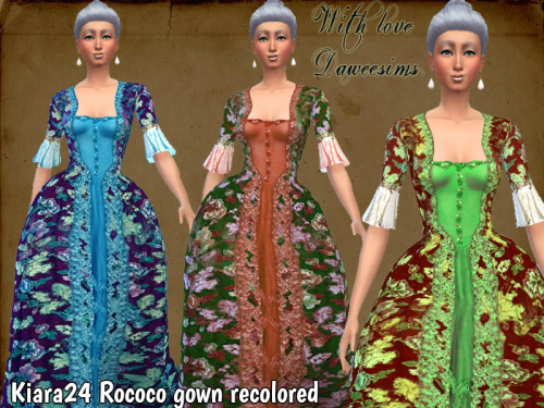 Kiara24 Rococo gown recolored by Daweesims