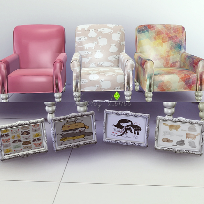 TS2 Chair, Pillows and Paintings by Mony