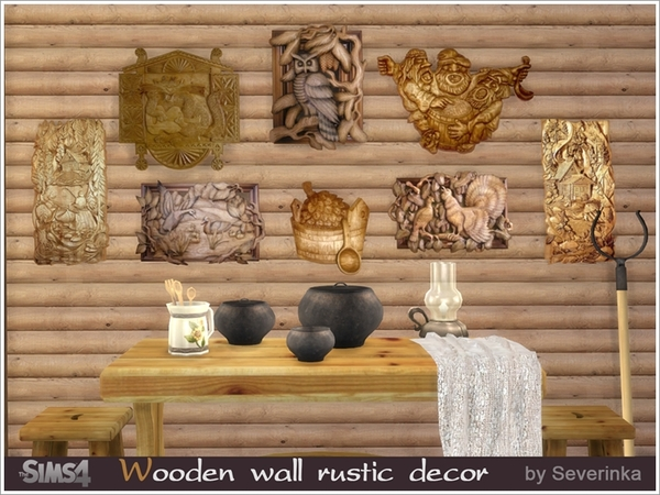Wooden wall rustic decor by Severinka