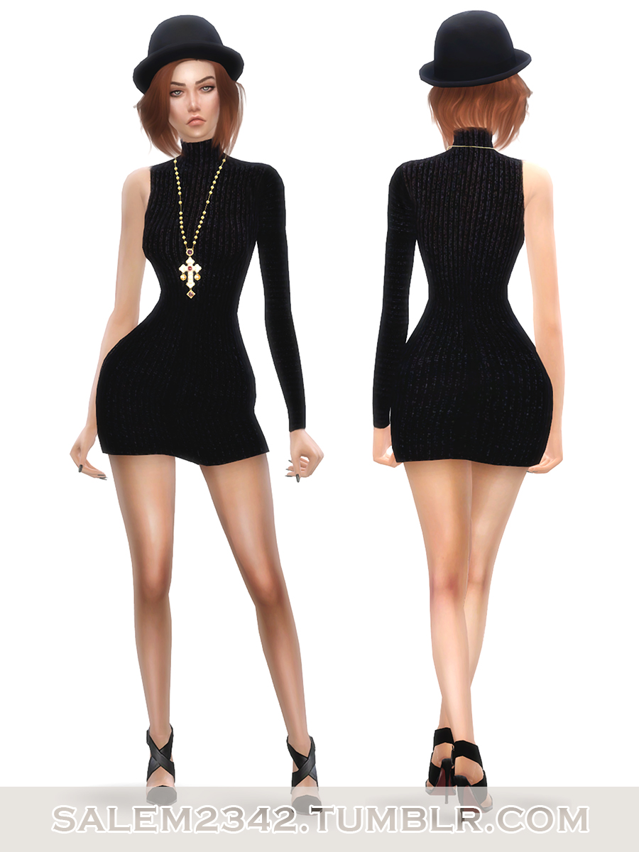 One Sleeve Knitted Mini Dress by salem2342