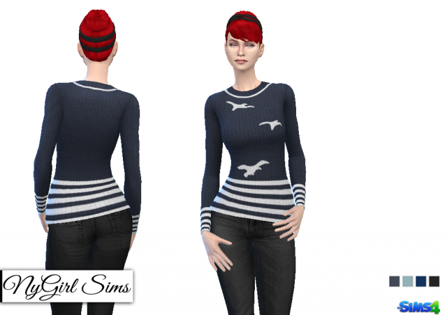 Vintage Nautical Striped Seagull Sweater by NyGirl
