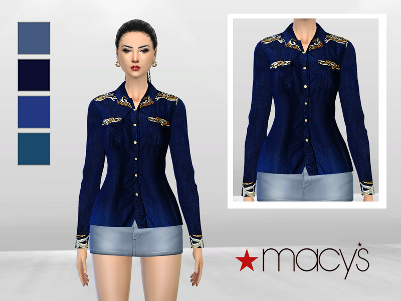 Indonesian Art Denim Blouse BY McLayneSims