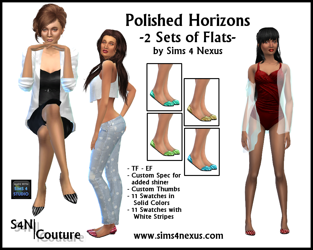 Polished Horizons Flats for Females by Sims4Nexus