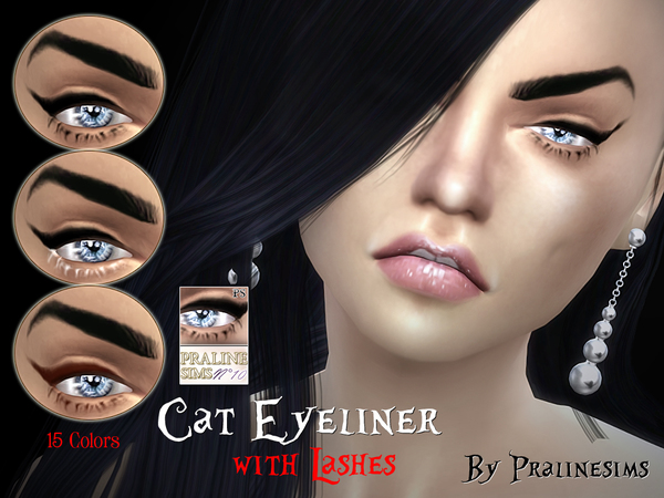 Cat Eyeliner with Lashes by Pralinesims