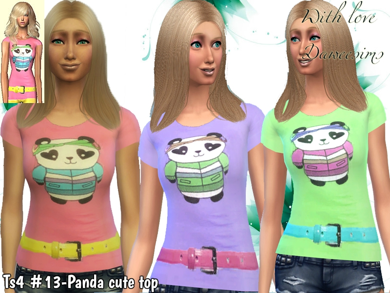 Ts4 #13-Panda cute top by Daweesims