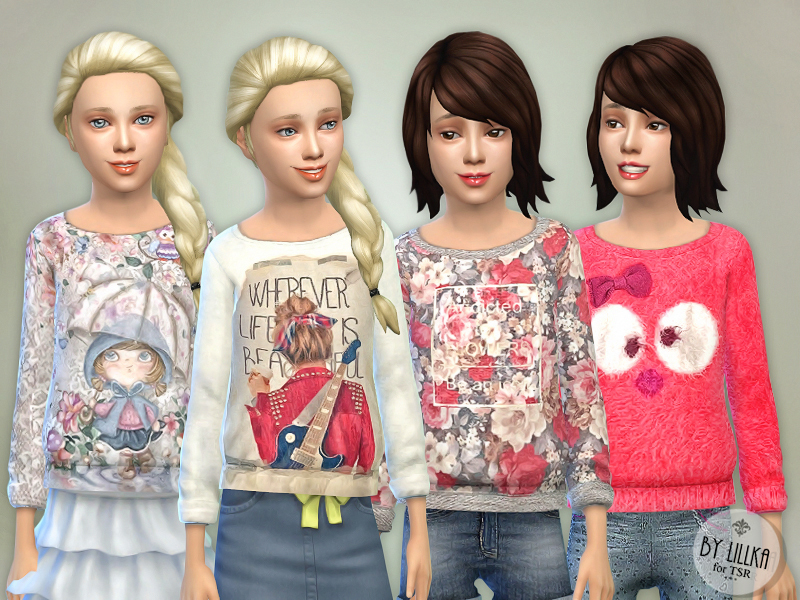 Printed Sweatshirt for Girls P02  BY lillka
