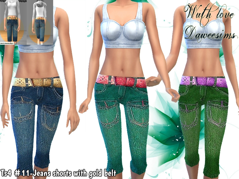 Ts4 #11-Jeans shorts with gold belt by Daweesims