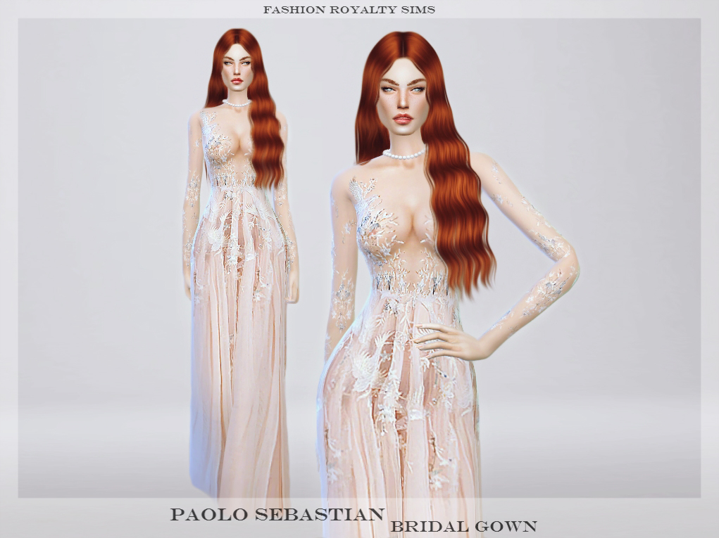 Paolo Sebastian Bridal Bird Gown by FashionRoyaltySims