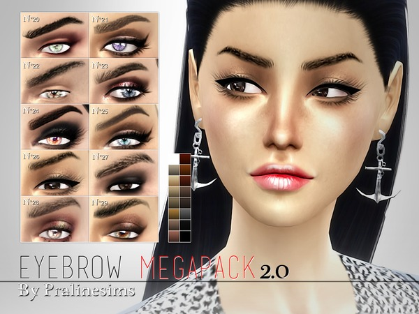 Eyebrow Megapack 2.0 ~ 10 DIFFERENT EYEBROWS by Pralinesims