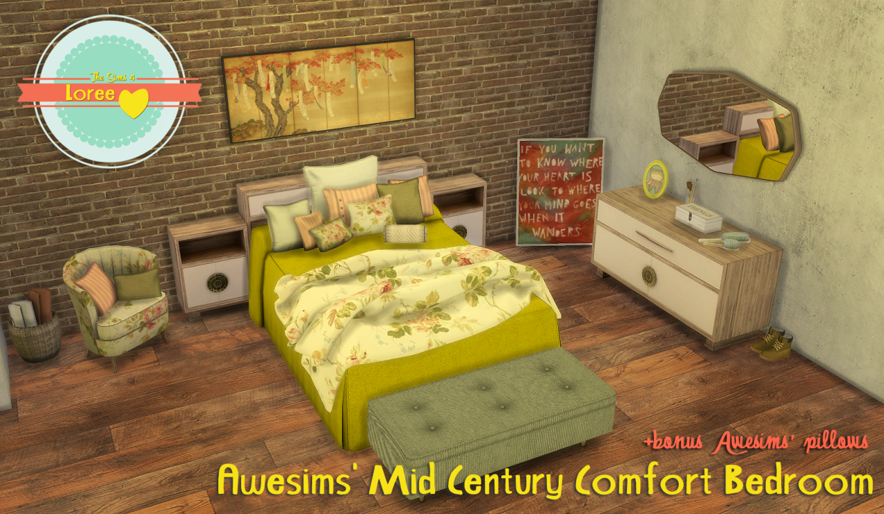 Awesims Mid Century Comfort Bedroom by LoreeSims4