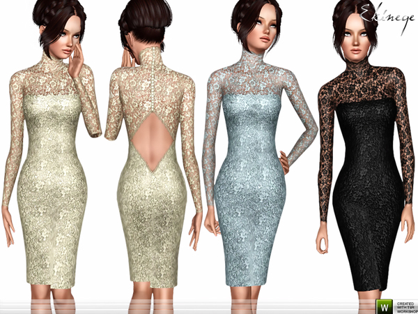 Open Back Lace Dress by ekinege