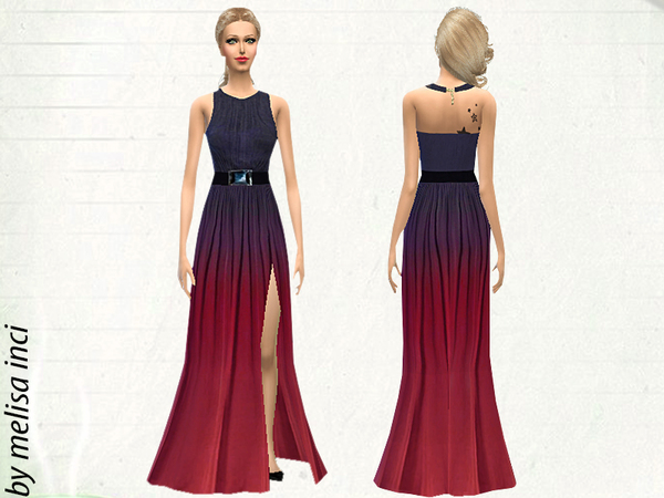 Halter Ombre Color High Slit Maxi Dress by melisa inci