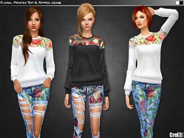 Floral Printed Top and Skinny Jeans - Spa Day GP required by Cre8Sims