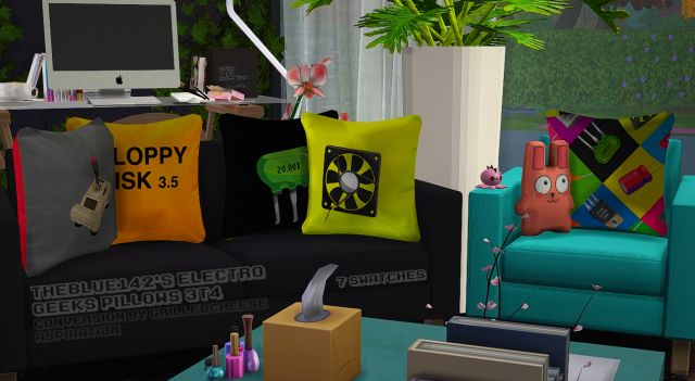 TS3 TheBlue142 Electro Geeks Pillows by GrilledCheeseAspiration