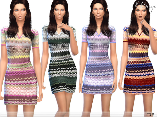 Zig Zag Print Dress by ekinege