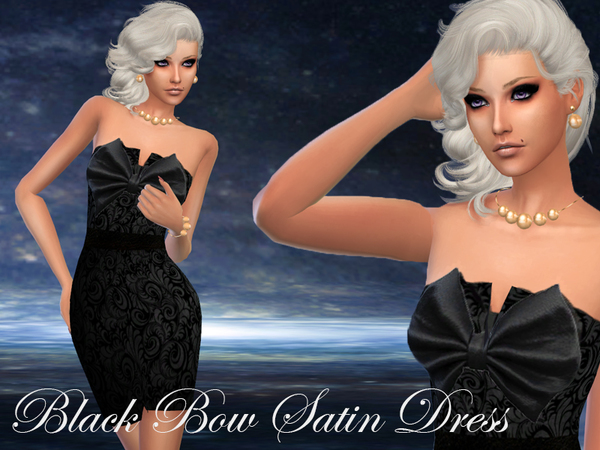 Black Bow Satin Dress by Carita89