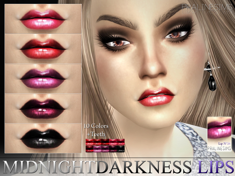 Midnight Darkness Lips  N26 +Teeth  BY Pralinesims