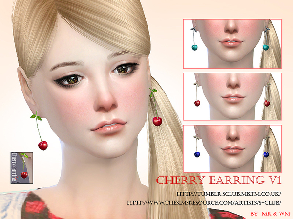 S-Club MW ts4 Cherry earring