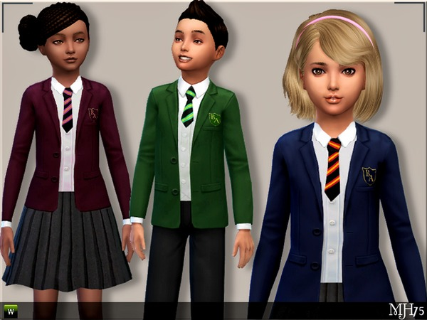S4 Child School Uniforms (M+F) by Margeh-75