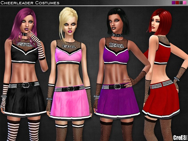 Rebel Cheerleader Costume Set by Cre8Sims