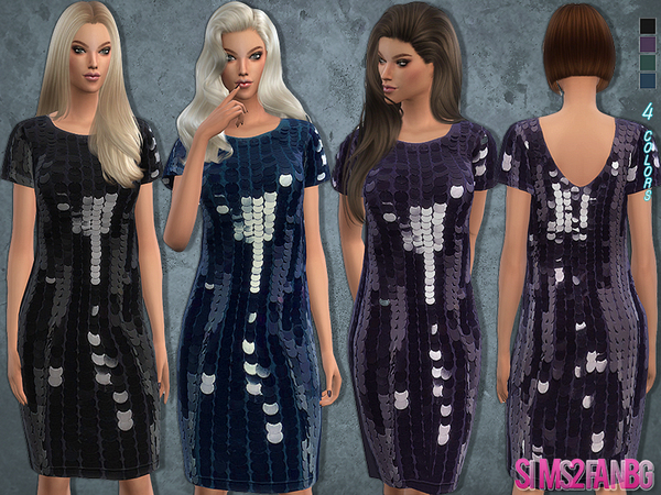 68 - Sequin dress with sleeves by sims2fanbg