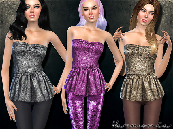 Strapless Top With Peplum In Metallic by Harmonia