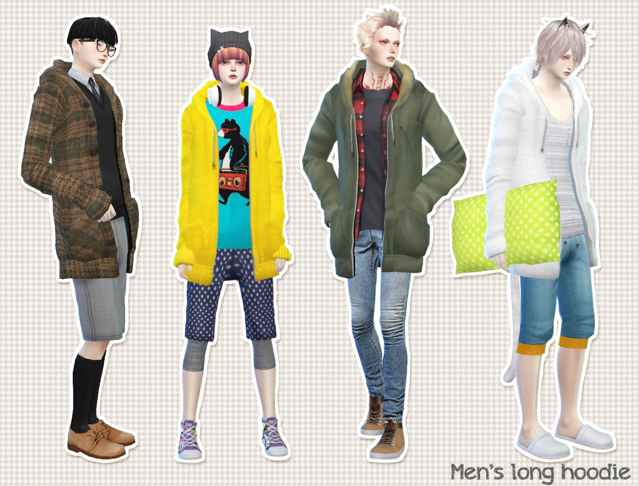 Accessory Long Hoodie for Males by Imadako