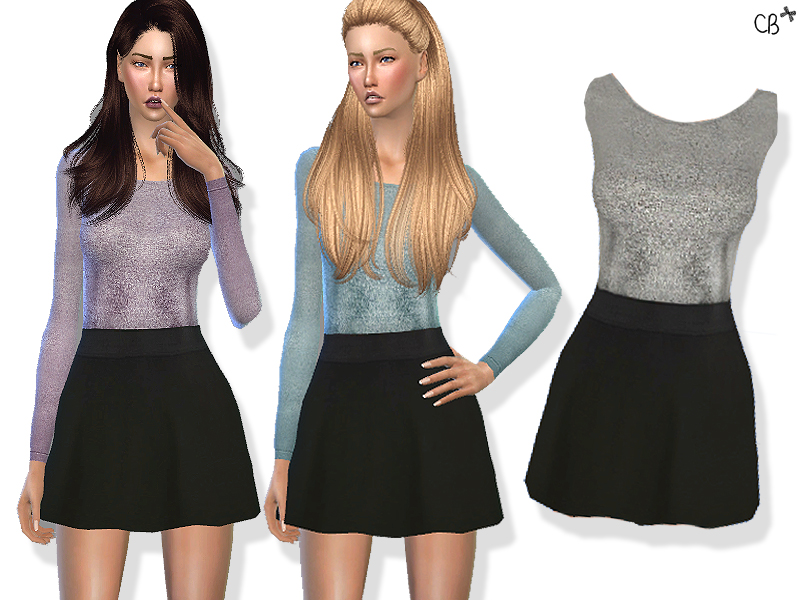 Silver sweater with skater skirt by CHERRYBERRY