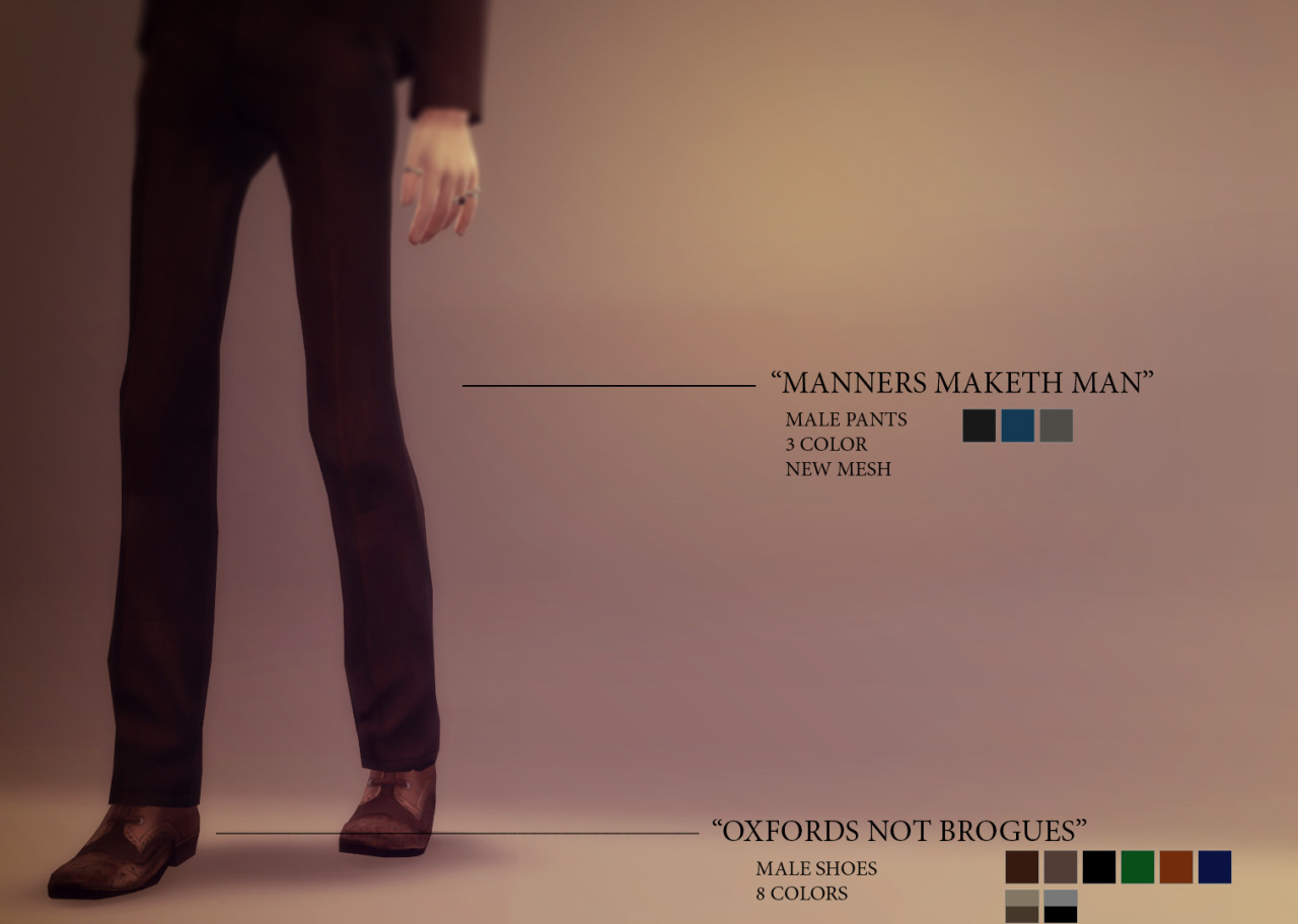 Manners Maketh Man Pants and Oxfords Not Brogues Shoes for Males by Azentase