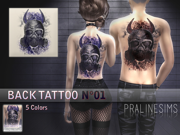Back Tattoo N01  For Women and Men by Pralinesims