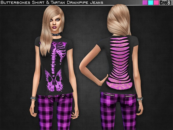 Butterbones T-Shirt and Tartan Drainpipe Jeans by Cre8Sims