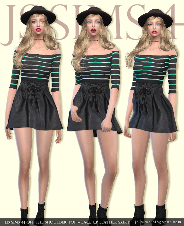 OFF-THE SHOULDER TOP + LACE UP LEATHER SKIRT by JS SIMS 4