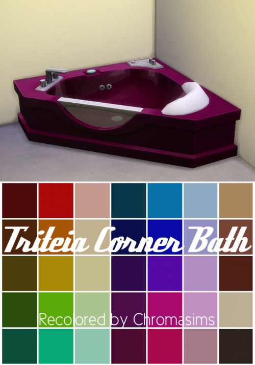 Corner Bathtub in 35 Recolors by ChromaSims