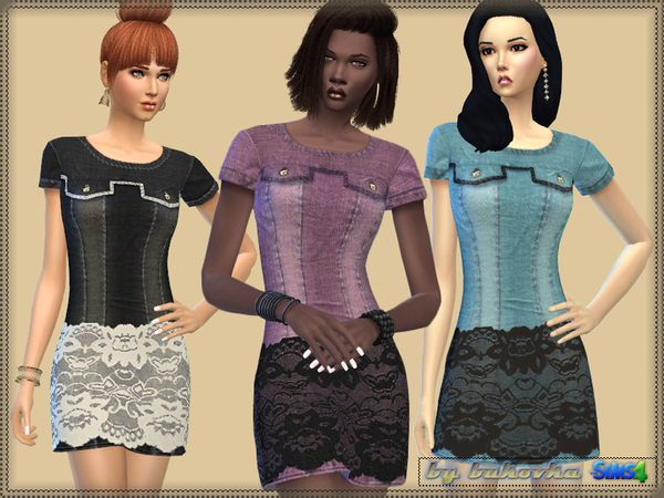 Denim Dress Lace by bukovka
