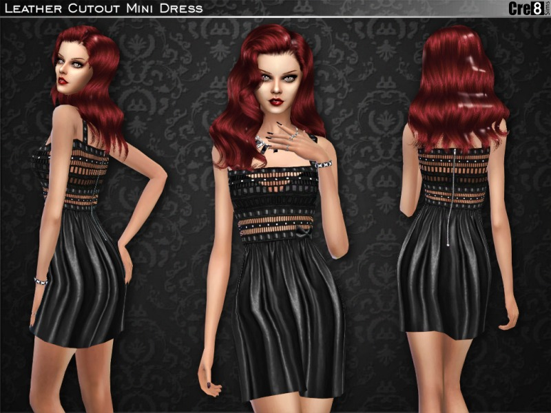 Leather Cut-out Mini Dress BY Cre8Sims