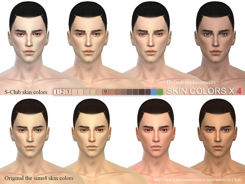 S-Club WM ts4 skin cas colors x 4 default replacement