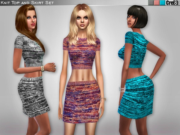 Knit Top and Skirt Set by Cre8Sims